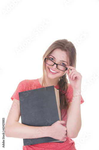 beautiful schoolgirl with textbooks in hands