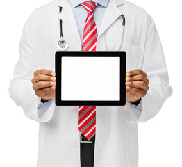 Midsection Of Doctor Advertising Digital Tablet