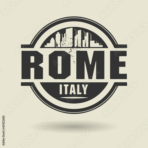 Stamp or label with text Rome, Italy inside, vector