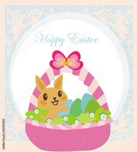Easter Bunny with basket full of Easter eggs