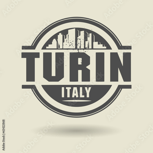 Stamp or label with text Turin, Italy inside, vector