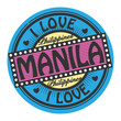 Grunge color stamp with text I Love Manila inside, vector