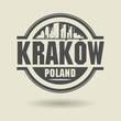 Stamp or label with text Krakow, Poland inside, vector