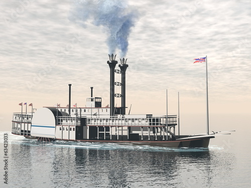 Old riverboat - 3D render