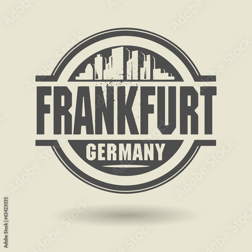 Stamp or label with text Frankfurt, Germany inside, vector