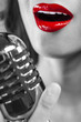 canvas print picture - Close Up Woman Singing Mouth & Vintage Microphone
