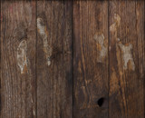 Grunge dark wood background with pieces glued paper on it poster