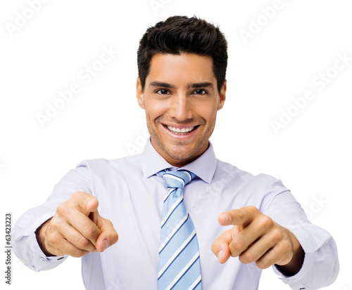 Happy Businessman Pointing At You