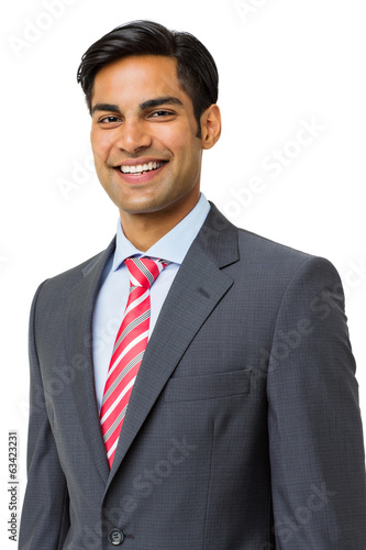 Happy Businessman Standing Over White Background