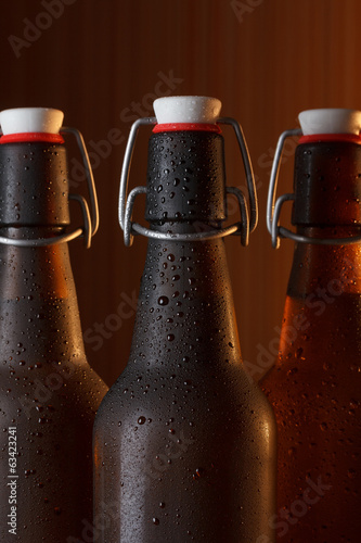 Beer bottles with vintage swing top