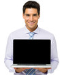 Confident Businessman Advertising Laptop