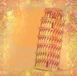 The Leaning Tower, Pisa, Italy, Europe  - vintage abstract card