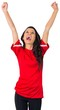 canvas print picture - Cheering football fan in red