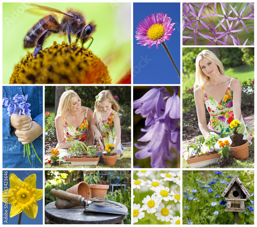 Mother Daughter Spring Garden Gardening Montage
