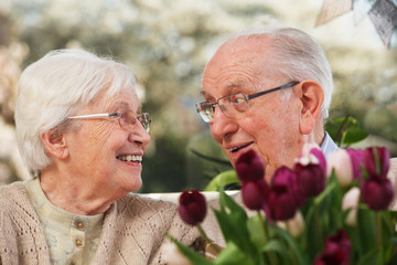 elderly couple with a bunch of tulips