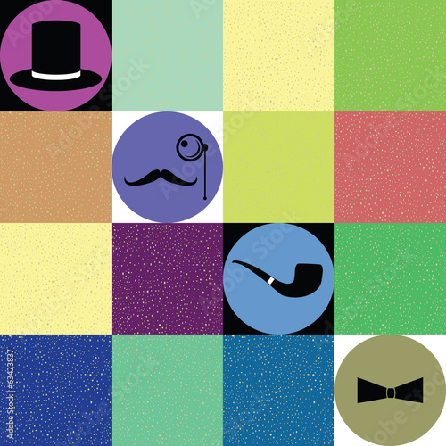 gentleman accessories vector under colorful retro concept