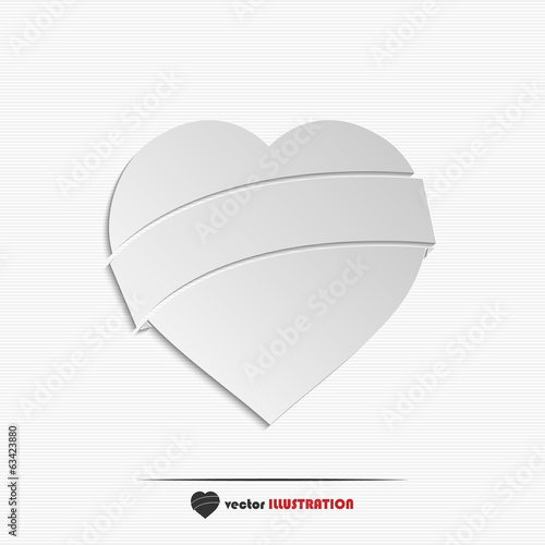 Abstract paper heart web icon