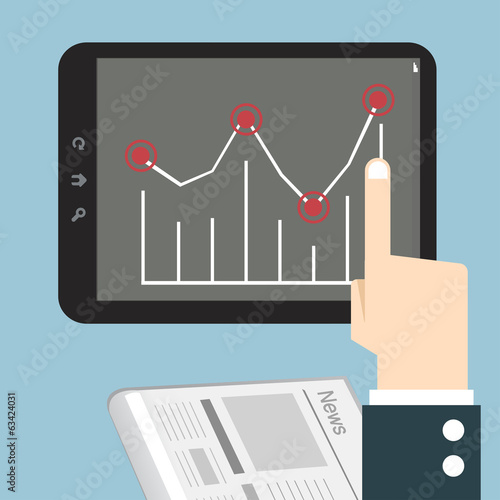 Hands with a tablet touch with graph.