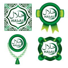 Set of Halal signs