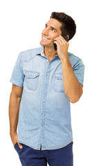 Smiling Young Man Answering Smart Phone
