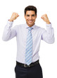 Smiling Businessman Gesturing Success
