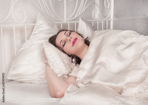 Beautiful plus size woman sleeping