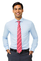 Happy Businessman With Hands In Pockets