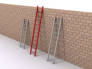 Leadership concept with three ladders