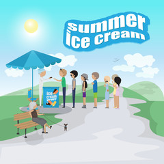 People Waiting In Line For Ice Cream, Summer Poster