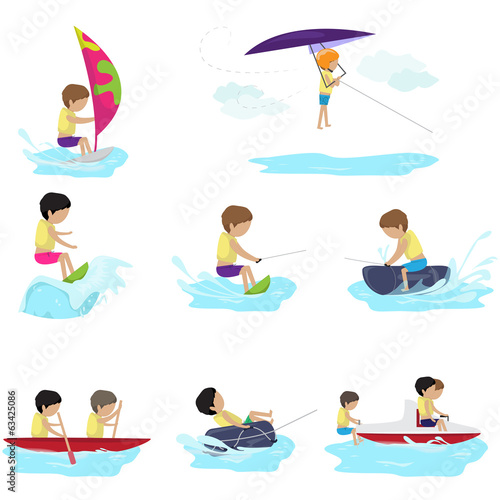 Water Sports - Isolated On White Background