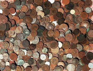 collection of bronze coins as a texture at a flea market