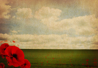 WW1 First World War Abstract Background with Poppies