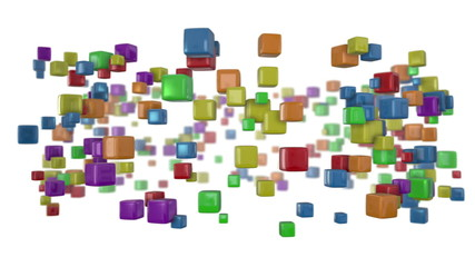 Seamless looping animation of colorful cubes