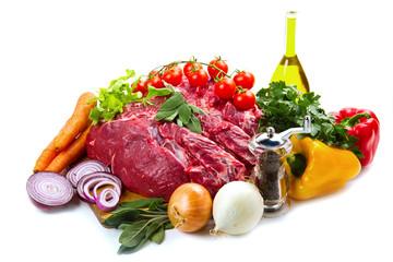 filetto di manzo con verdure ed ingredienti