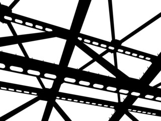 Vector silhouette of steel beams. Fragment construction site.