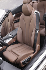 Sports car leather seats