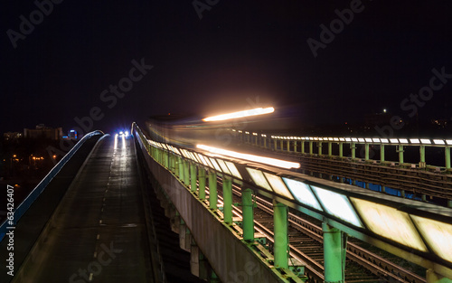 Subway train passing a bridge in Kiev, Ukraine