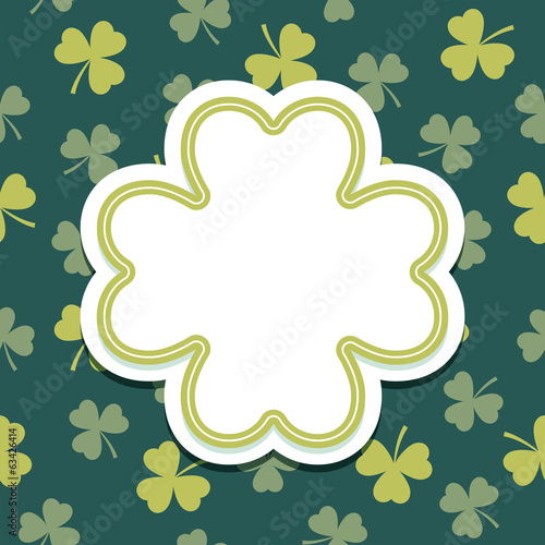 st patricks day card with shamrock text frame