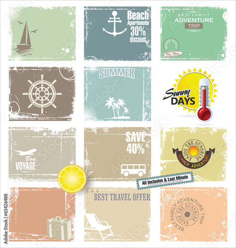 Travel retro banner collection
