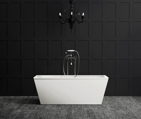 Modern bathtub on black wood wall