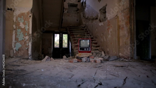 Broken Television in Abandoned House alpha