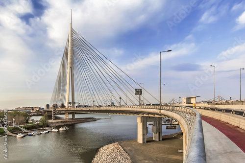 Suspension Bridge Over Ada Pylon at Dusk - Belgrade - Serbia