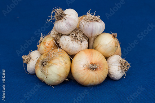 Bunch of onions and garlic