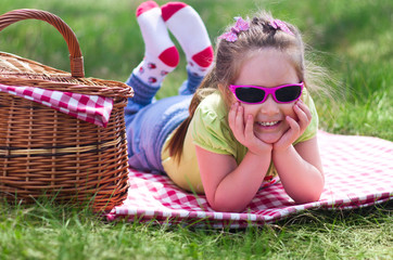 Little girl at picnic
