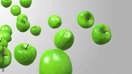 Green apple slow motion falling.