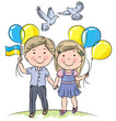Children with balloons and flag