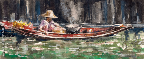 Woman selling a food on floating market in Thailand.Watercolors.