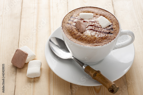 Hot mocha with marshmallow