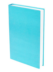 Light blue book standing isolated