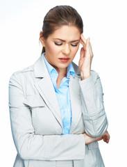 Woman headache portrait. White background.